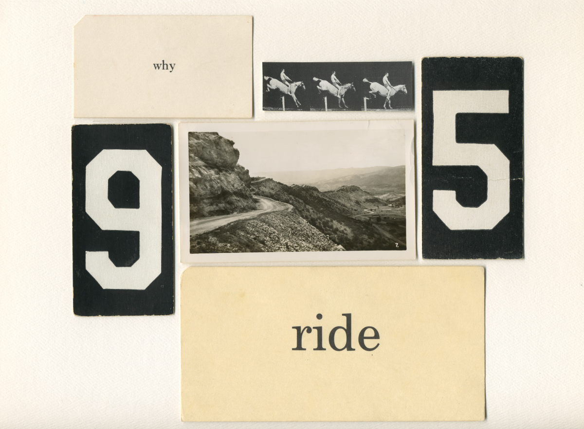 """Why Ride 9 to 5"" , Assemblage, found papers and picture, 2013"