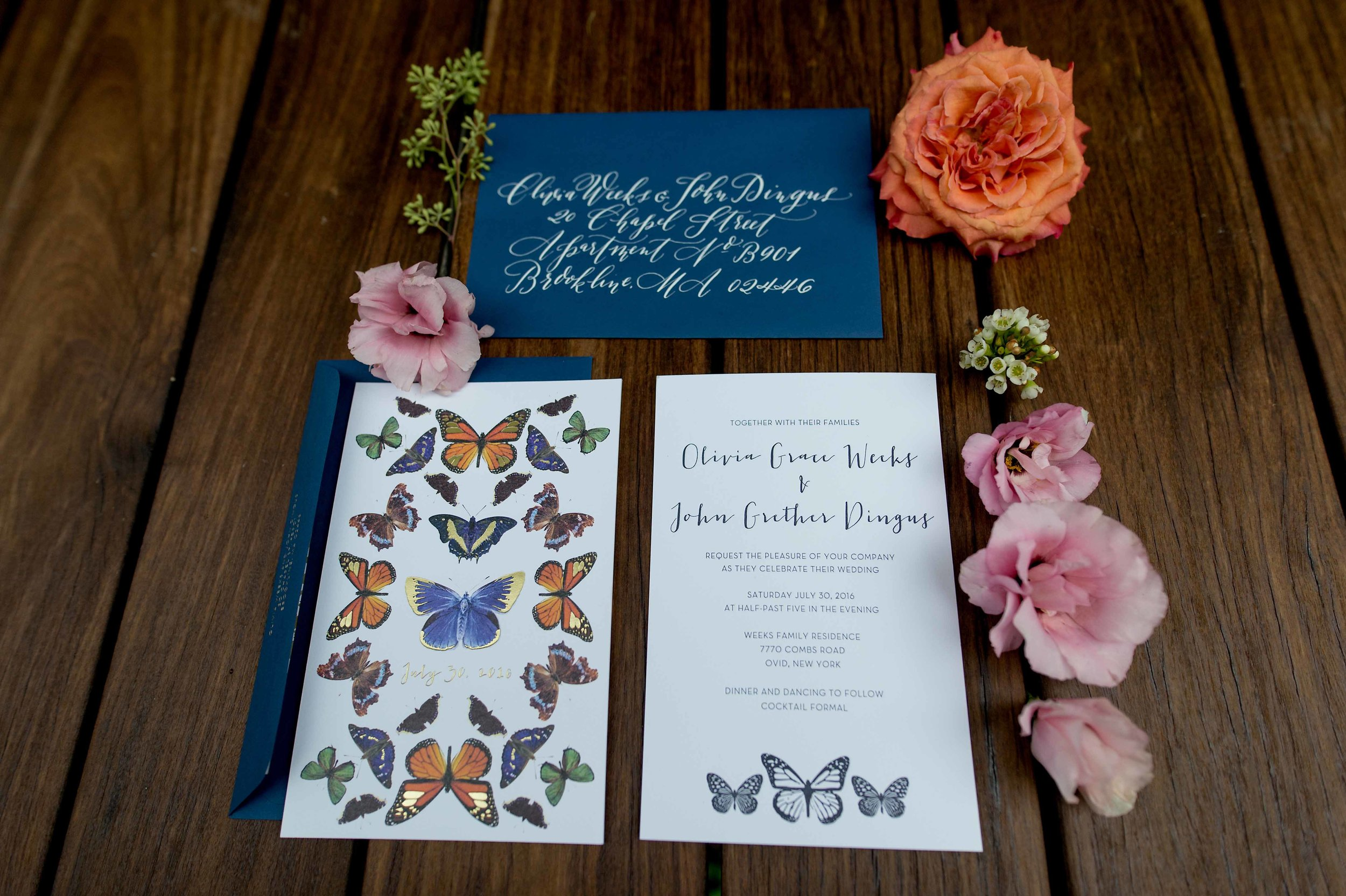 invitation with butterflies