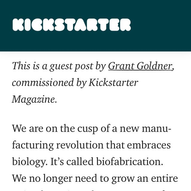 @kickstarter commissioned me to write a piece for their community of makers on what biofabrication is and how to scale up biomaterial usage in your project! Check out the link in bio! Really excited to be diving into the world of consulting as a sustainability strategist! This post kicks of my move towards building out my new company!  I'd love to collaborate! DM me :)