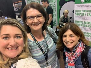 Heather Newman, Agnes Molnar, & Susan Hanley at the Panda booth.