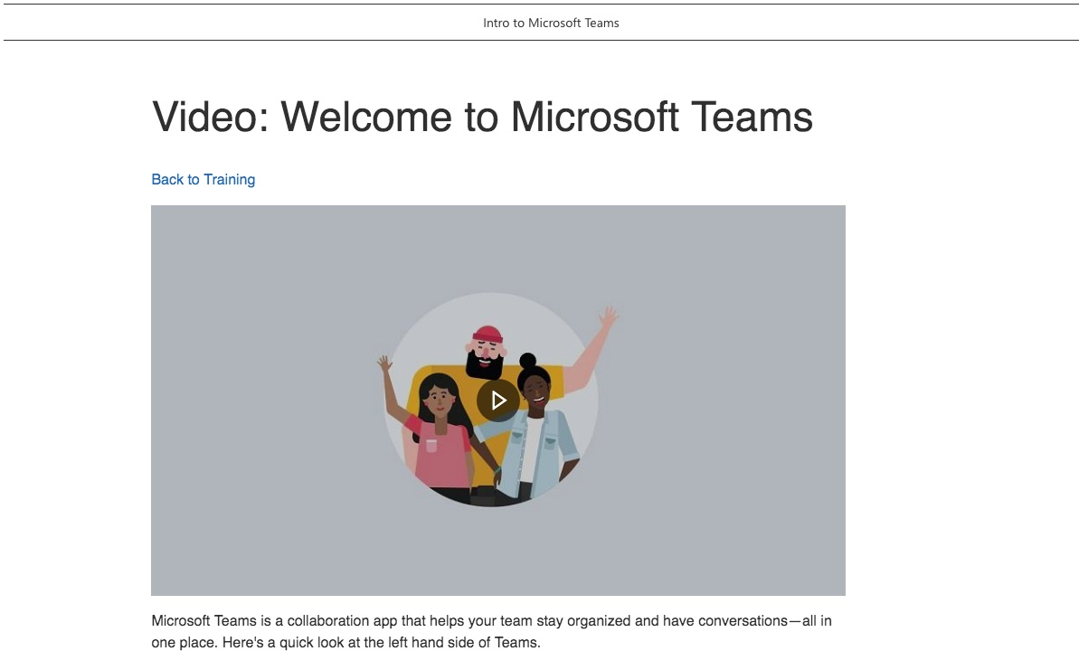 Teams playlist on a learning pathways SharePoint Communications Site