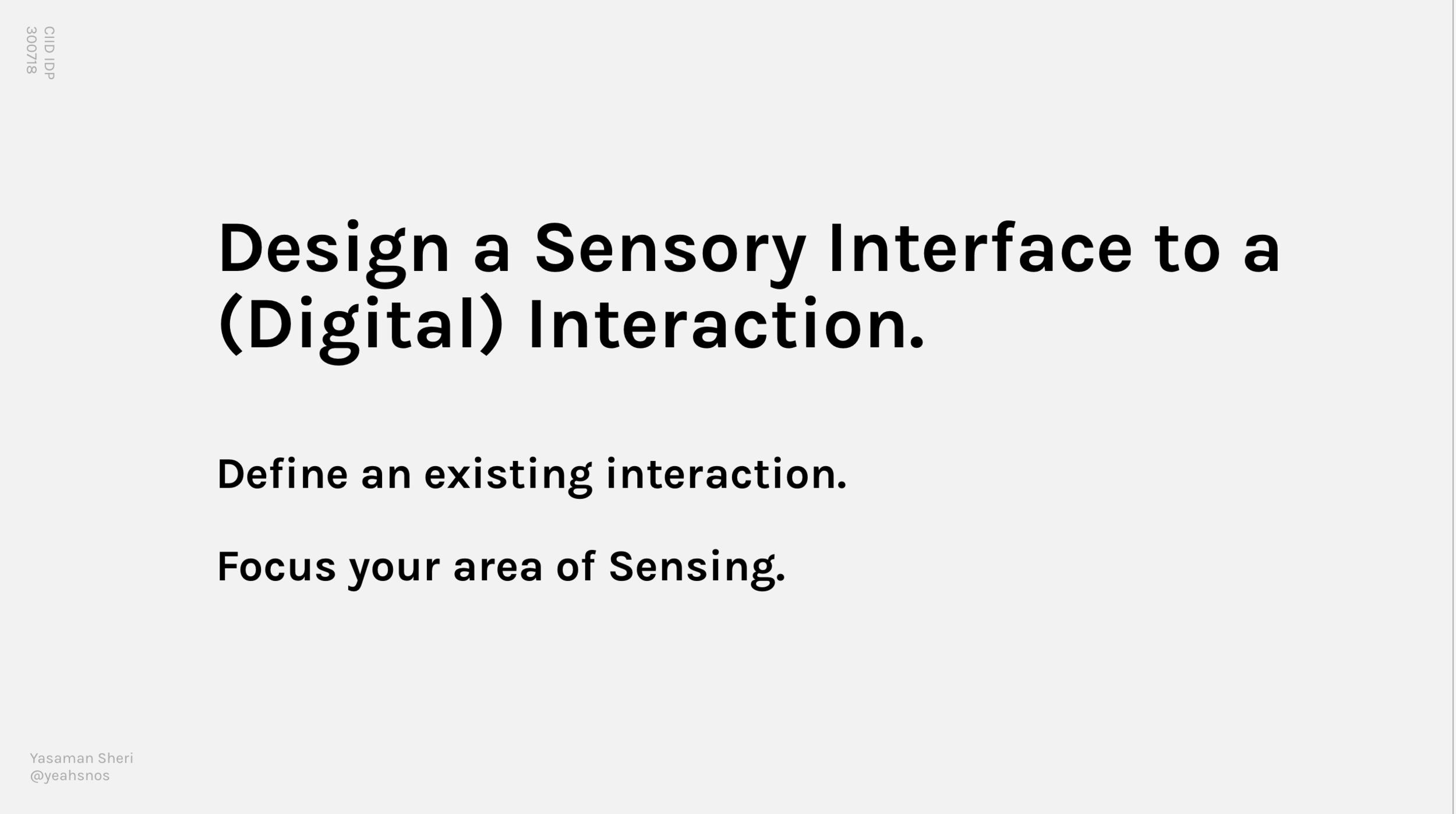 Sensory Design Brief