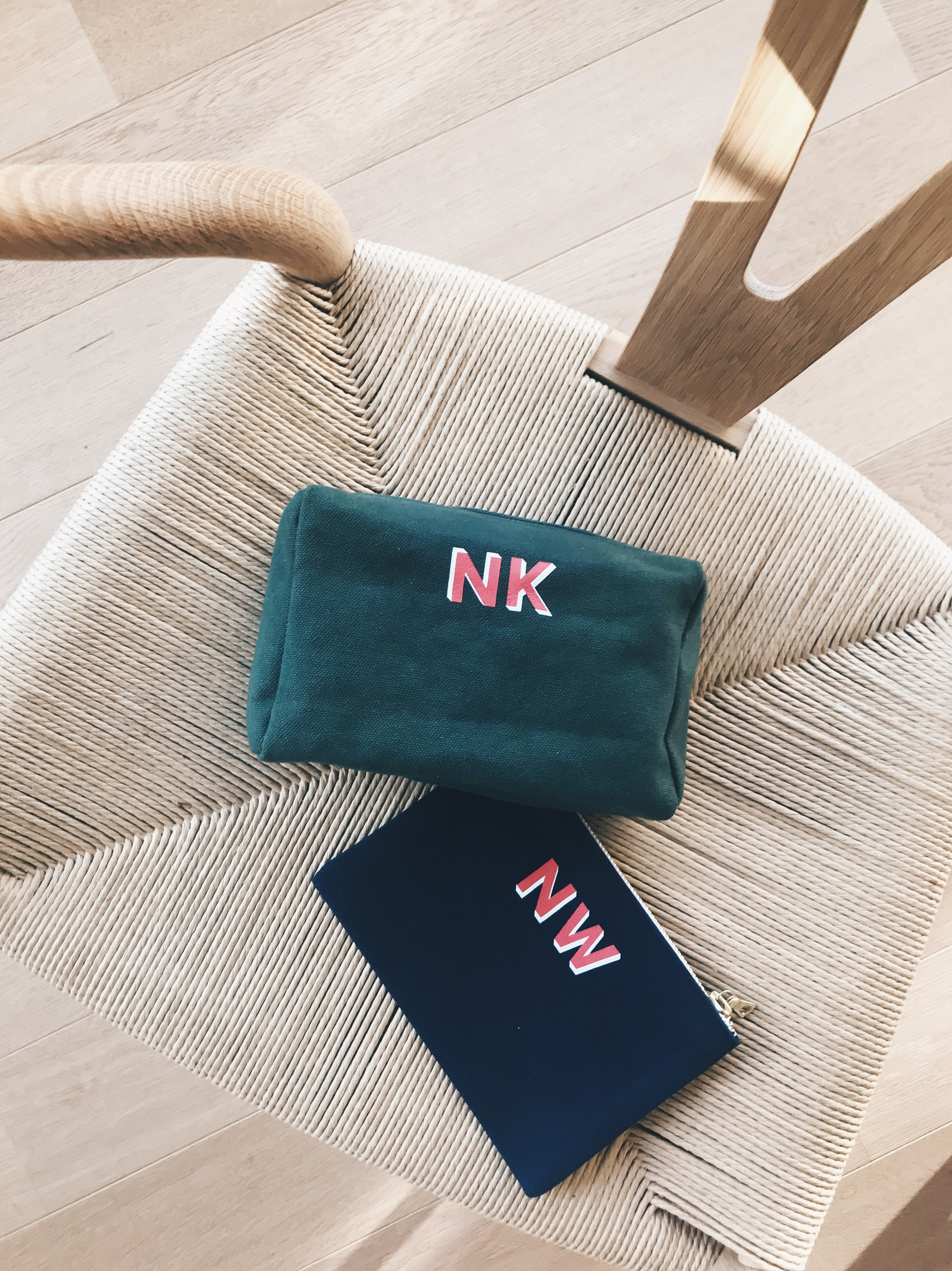Canvas, with love. - Our Canvas Bags are crafted in Switzerland and will be printed with beautiful letters in red and white. Different bag shapes, colors and sizes are available. Click here (for flat pouches) or here (for wash bags) to view more pictures or to order online.