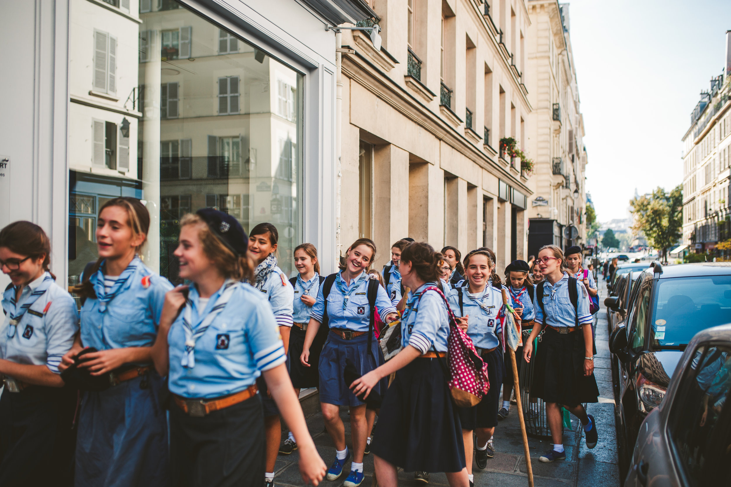 These girls were singing on their way to school, they were so loud that we heard them from way above the street. It sounded like their own battle cry. I loved it.