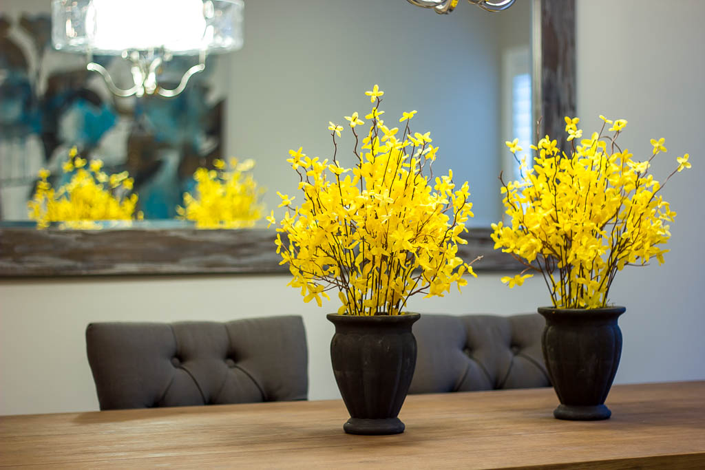Using colourful flowers for home staging at a Real Estate property in Barrie