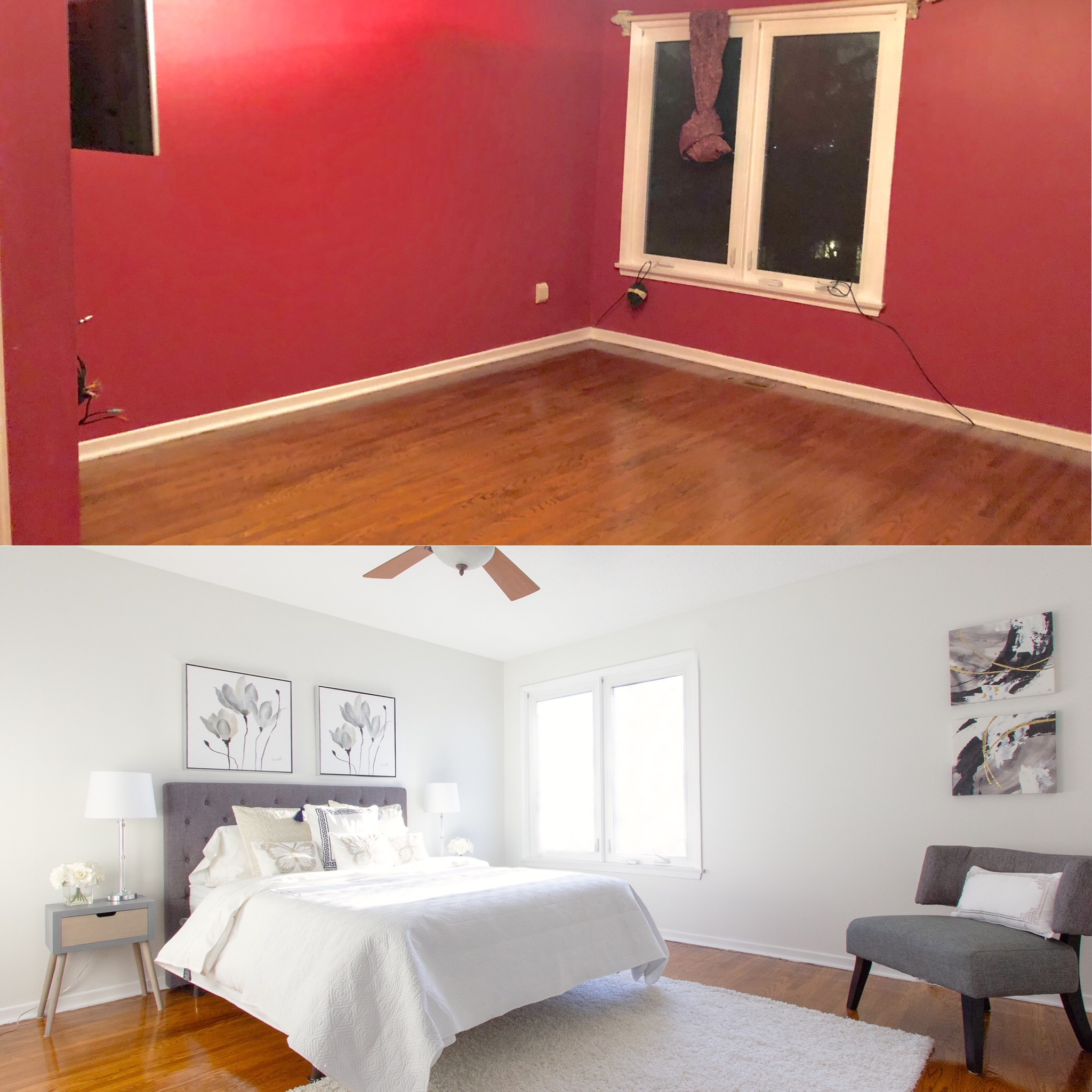 """Red is a powerful colour. Painting entire walls red is an either """"love it/hate it"""" reaction. It's risky to leave a bold colour on the wall when selling your home. I've said it a million times, paint is the best ROI (return on investment) when selling! The freshly staged master bedroom now looks tranquil and stylish. Also, showing how much space is essential in the master. How else are buyers to know if their beds will fit ? Don't leave it to their imaginations, it won't be good!"""