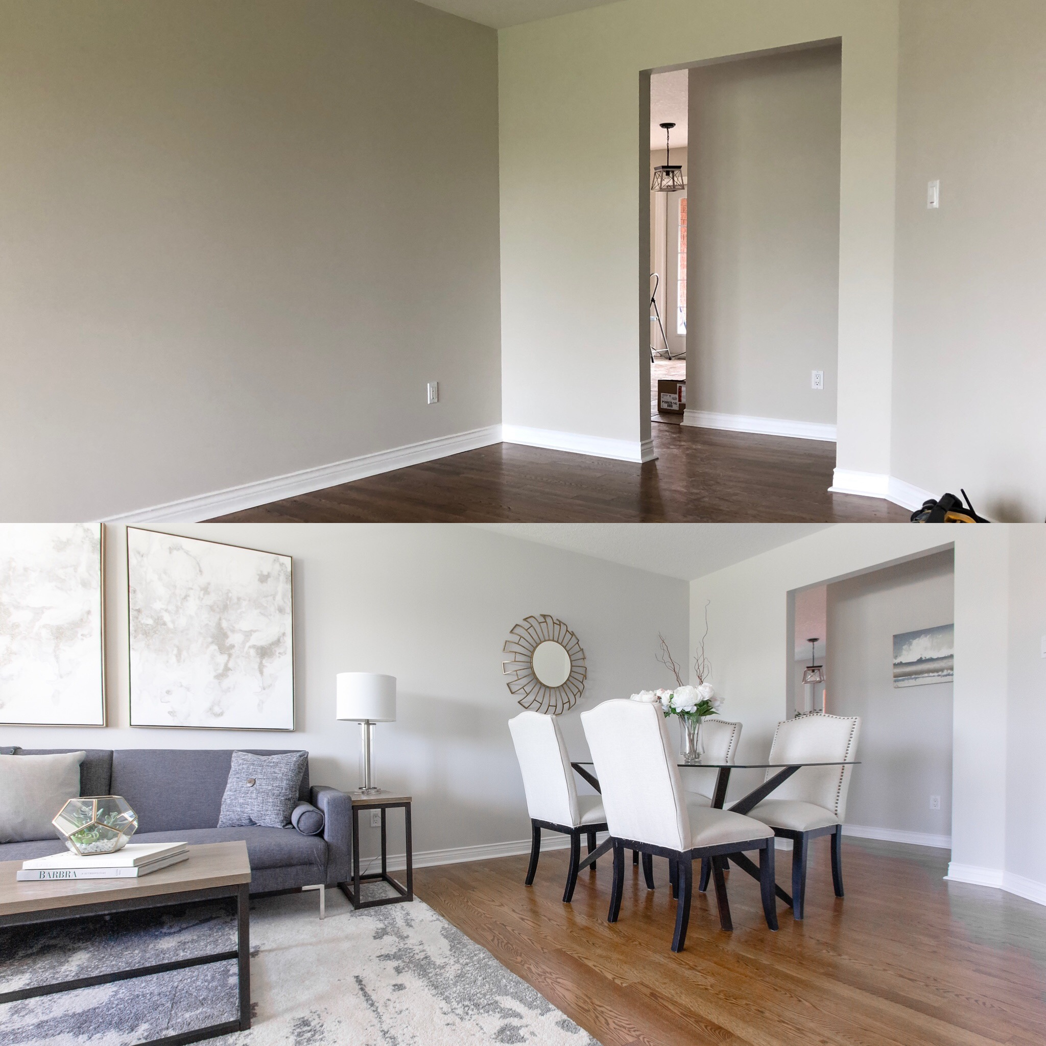 Before & After of living room/dining room