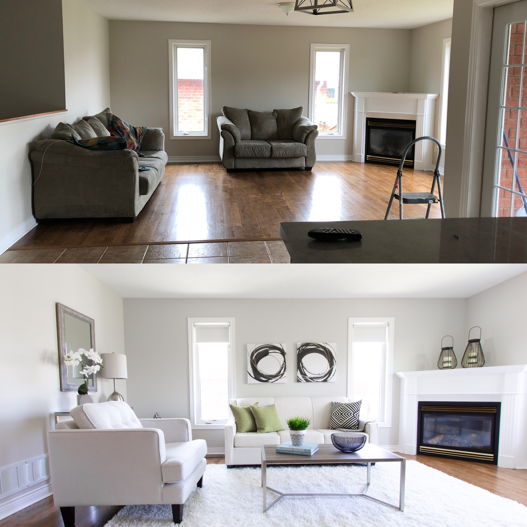 Before & After of Family Room