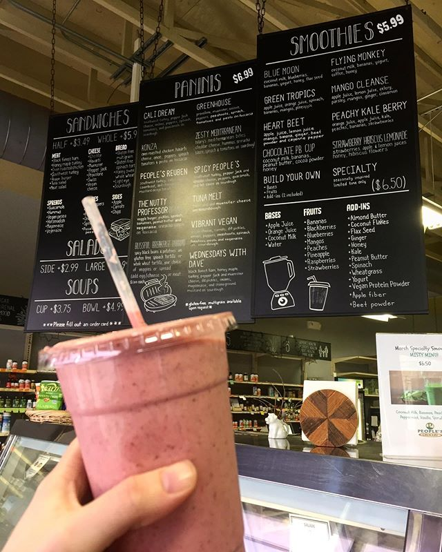 """Warmer weather calls for a cold smoothie! What's your favorite build-your-own combination? • • """"My favorite is made with coconut milk, strawberries, pineapple, oats, honey, and almond butter"""" - Maggie, customer service rep"""