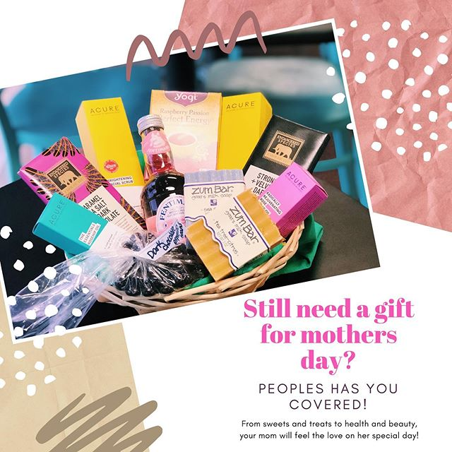 Looking for a last minute gift for Mother's Day tomorrow? People's has got you covered! This basket includes: 🌸🌸🌸 Raspberry passion perfect energy: yogi tea- $4.99 🌼🌼🌼 Acure Brightening cleansing gel and facial scrub - $9.58 each 🌸🌸🌸 The essentials rose-hip oil - $13.34 🌼🌼🌼 Radically rejuvenating rose argali oil- $9.84 🌸🌸🌸 Dark chocolate espresso beans- $4.00 🌼🌼🌼 Zum (sea salt + tea tree citrus) bar- $4.95 each 🌸🌸🌸 Strong and velvety endangered species dark chocolate - $2.99 🌼🌼🌼 Carmel sea salt and dark chocolate endangered species bar -$2.99 🌸🌸🌸 Rose lemonade- $2.09 🌼🌼🌼 #mothersday #zumbar #mom #health #beauty