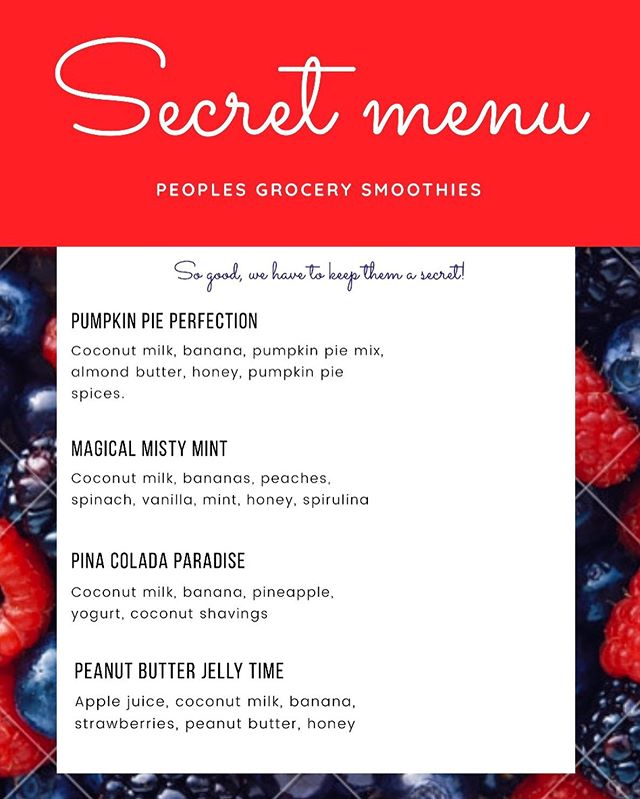 Alright, you smoothie lovers told us you could handle our secret smoothie menu, so here it is!! Cool off this summer with any of these refreshing blends, but remember to keep it on the hush hush 🤫☀️🌷 #secretmenu #smoothie #health #summertime