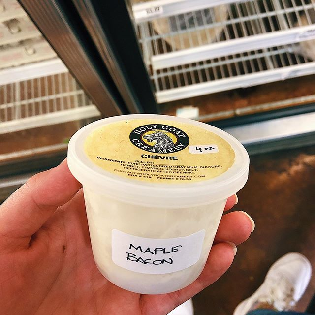 Say goat cheese!! Come grab some Holy Goat goat cheese made here in Manhappiness :) 4 oz Maple Bacon Chèvre 🍁 for $5.59 8 oz Garlic Herb Chèvre 🌿 for $12.50 8 oz Feta 🐐 for $10.85 8 oz plain Chèvre 🐐 for $10.85