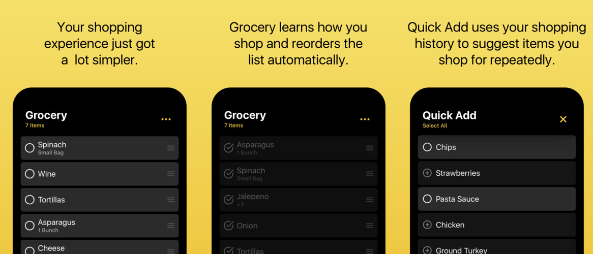 Grocery 1.1 featuring an improved list layout and Quick Add