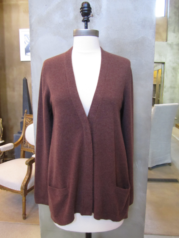 Beautiful Brunello Cucinelli 100% Cashmere Fox Trapeze Cardigan.  Made in Italy.  Available in Large.  Originally $2155 and is now $862.  SOLD