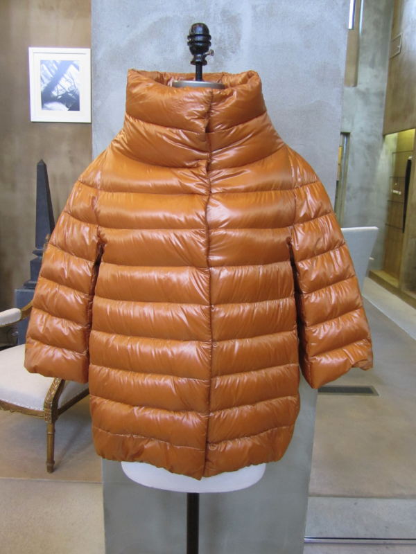 Herno Down Filled Puffer in Burnt Orange.  All spines removed from feathers to be extremely light.  Made in Italy.  Available in 6, 8, and 10.  Originally $570, now $268.