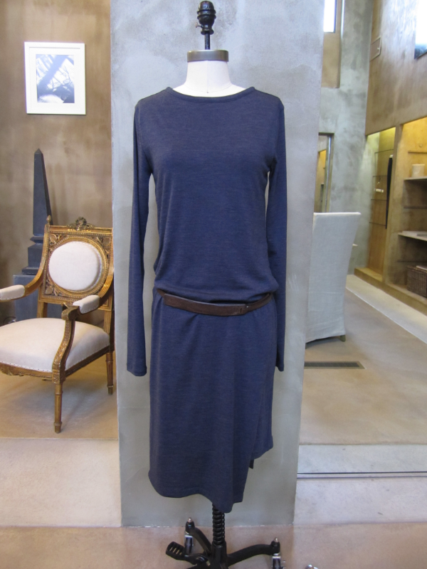Brunello Cucinelli Long Sleeve Wool Jersey Dress with Leather Belt in Galaxy.  Made in Italy.  Originally $1655, now $662.  Available in Large and X-Large.