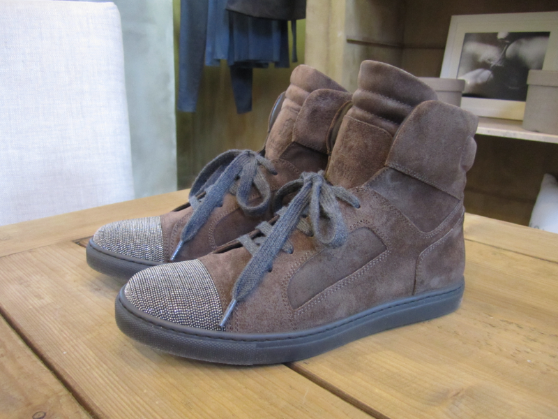 Brunello Cucinelli Monili Toe Sneaker in Brown.  Made in Italy.  Originally $1135, now $454.  Available in 7.5 and 8.5.