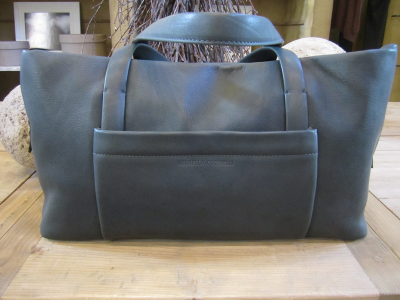 Brunello Cucinelli Matte Leather Zip Shoulder Bag in Charcoal.  Made in Italy.  Originally $2345, now $938.