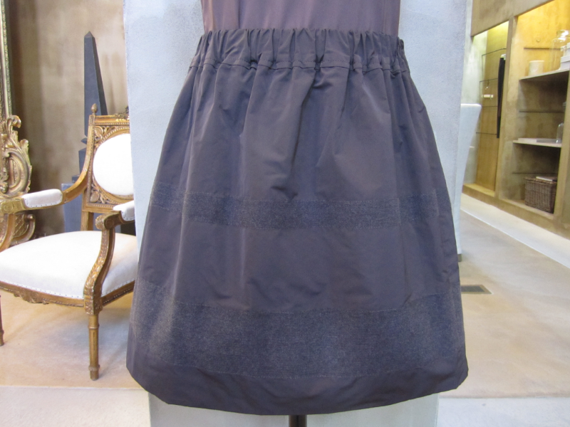 Brunello Cucinelli Taffeta Elastic Waist Band Skirt with Stripe detail in Brownie / Charcoal.  Made in Italy.  Originally $935, now $374.  Available in 8 and 10.