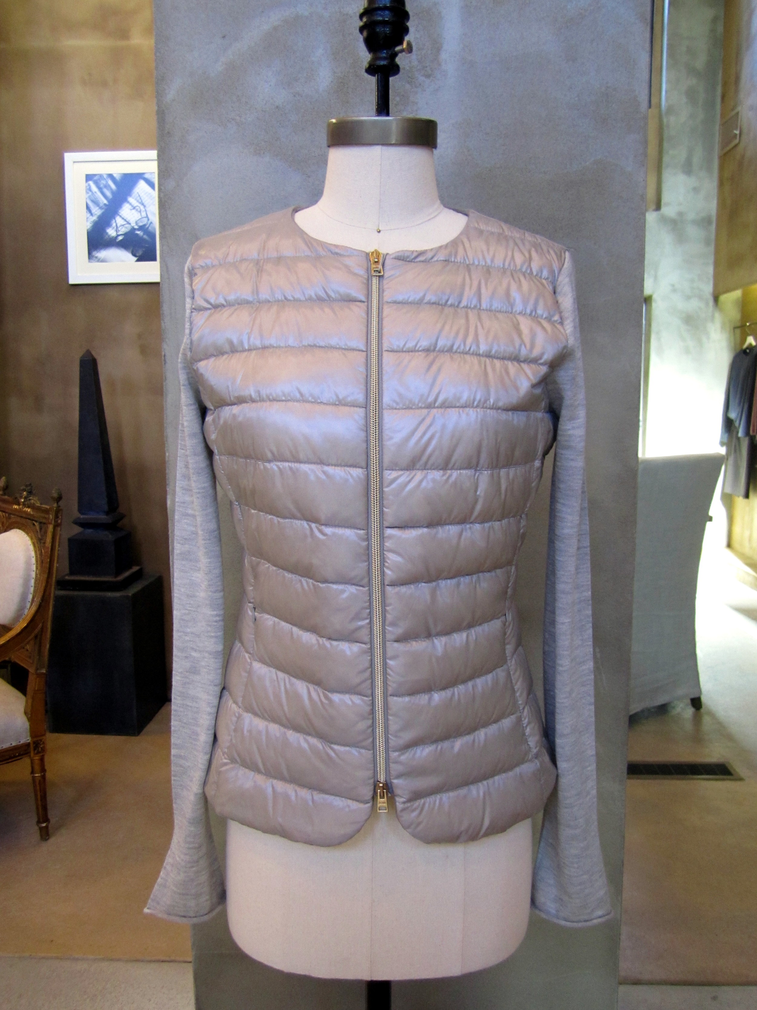 Herno Padded Down Zip Vest with Silk/Cashmere Sleeves. Silver. Made in Italy. $702. Available in size 6 and 12.