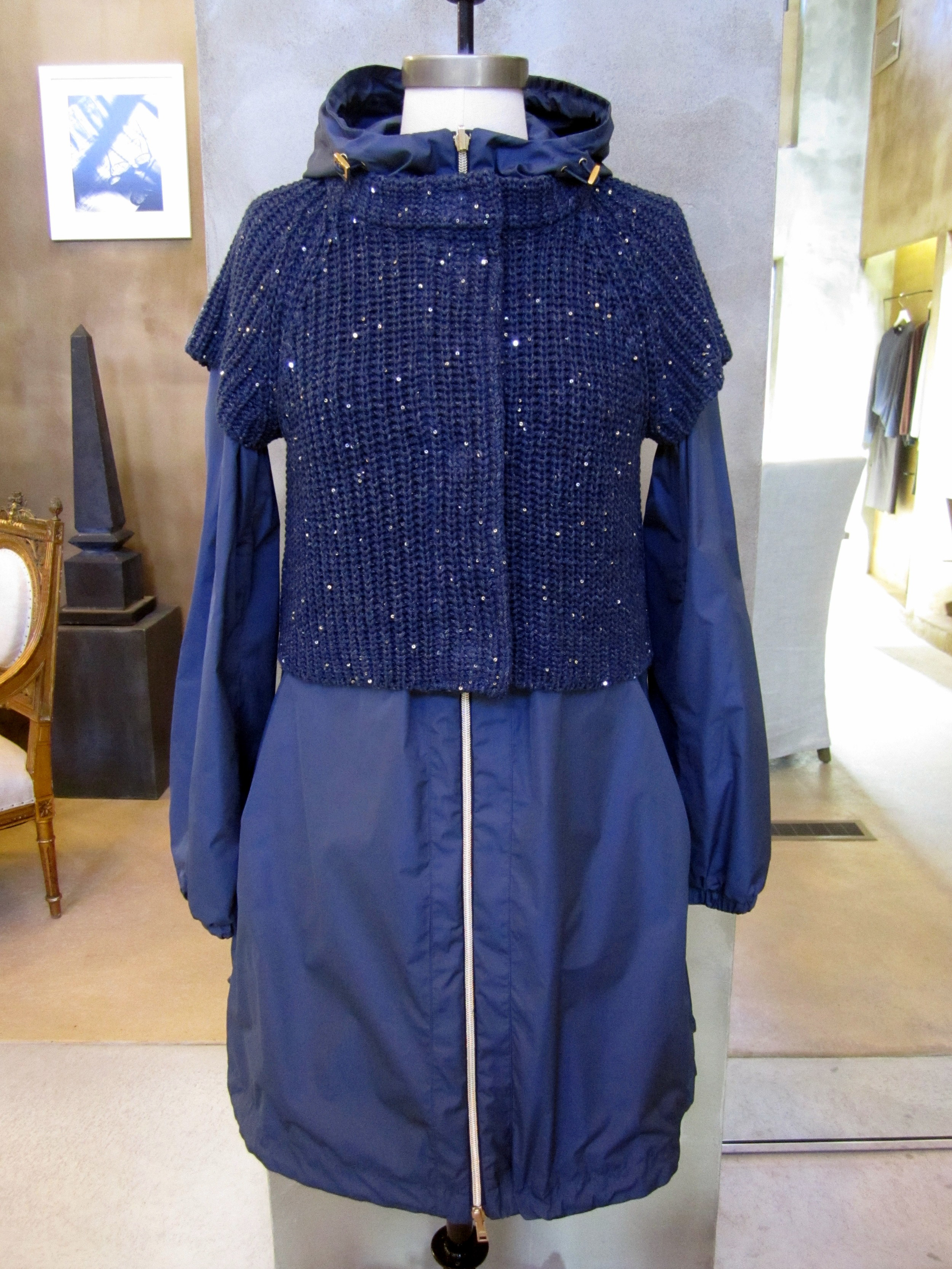 Herno Fine Fly Reversible Nylon Coat with Detachable Cotton / Linen Short Sleeve Pailetta Sweater. Blue. Made in Italy. $1410. SOLD.