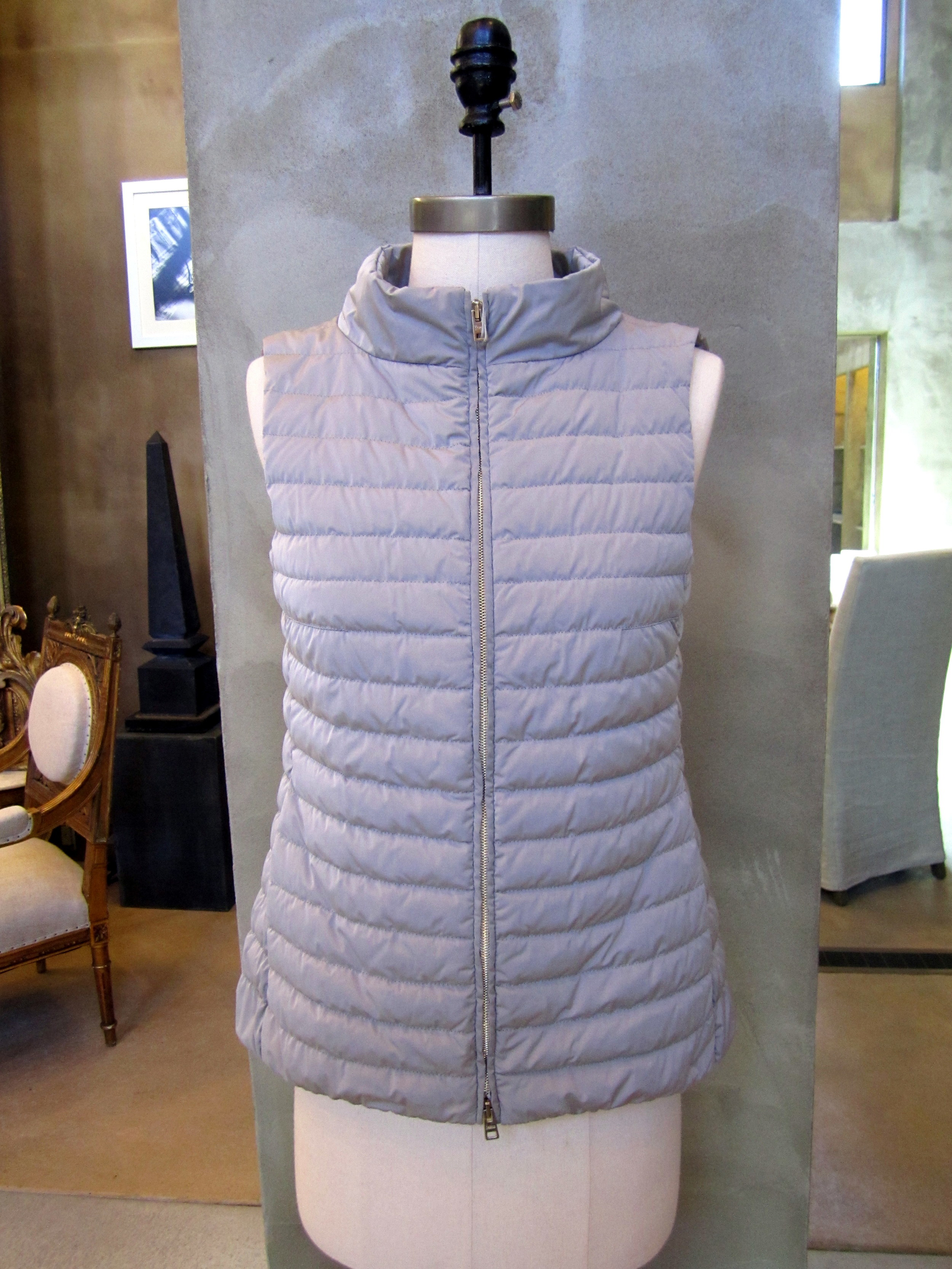 Herno Techno Padded Down Taffeta Vest. Silver. Made in Italy. $525. Available in size 4, 6 and 8.