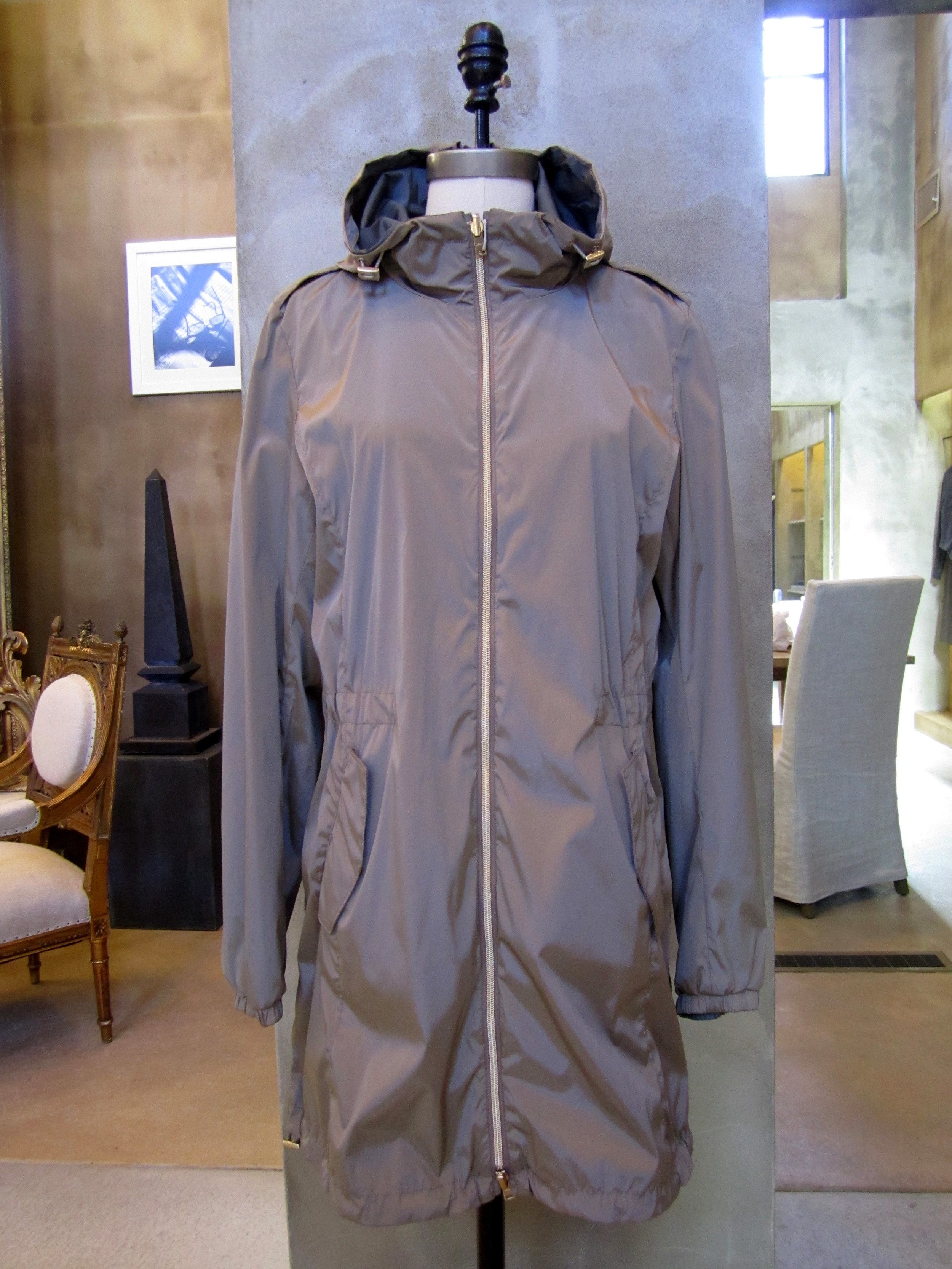 Herno Reversible Nylon Raincoat with Hood. Taupe / Dark Grey. Made in Italy. $995. Available in size 10.
