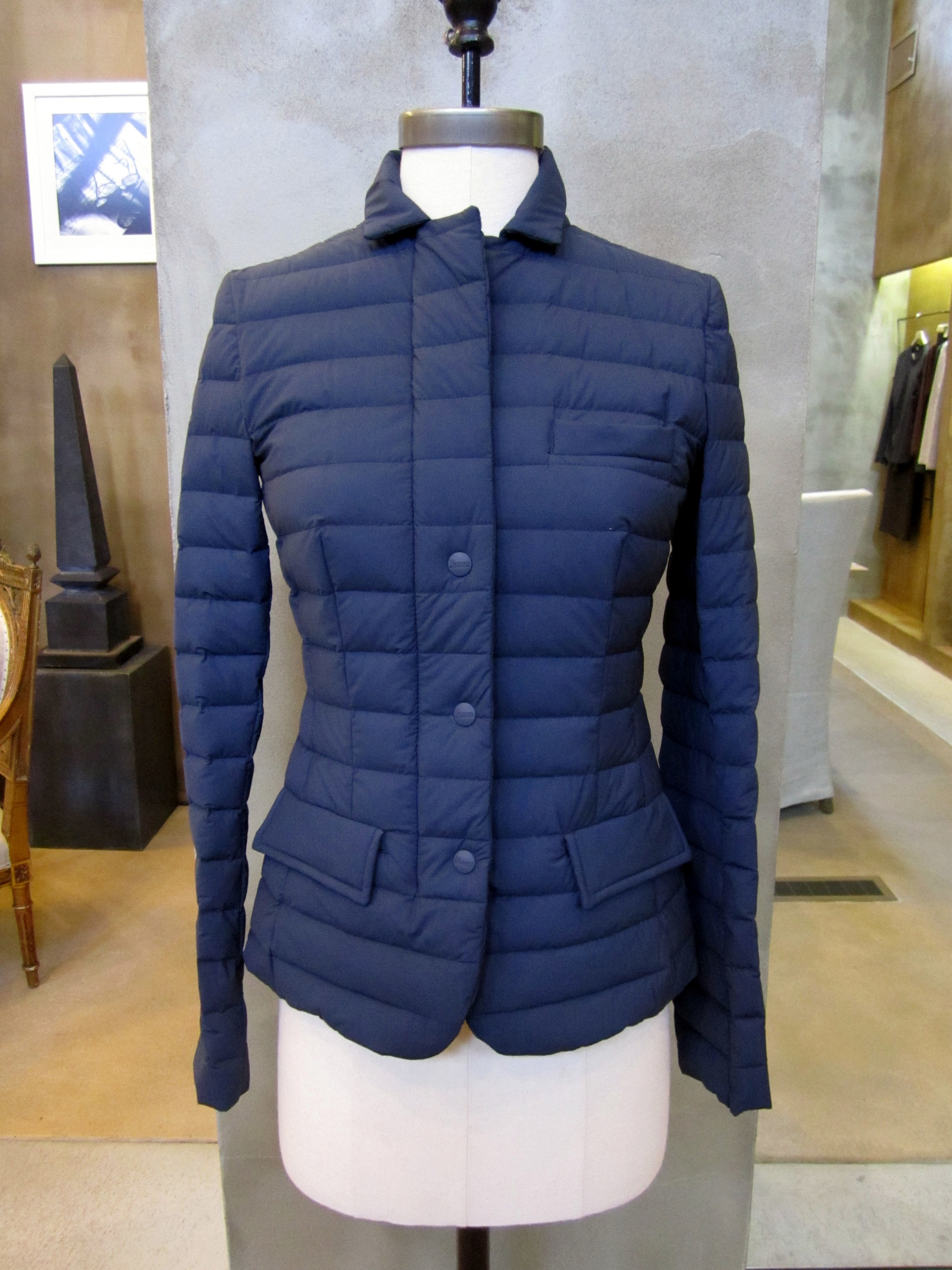 Herno Flexi Nylon Down Blazer. Blue. Made in Italy. $805. Available in size 4 and 6.