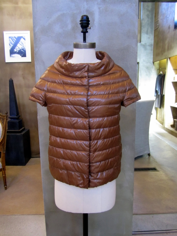 Herno Light Down Vest with Cap Sleeves. Copper. Made in Italy. $460. Available in size 6.