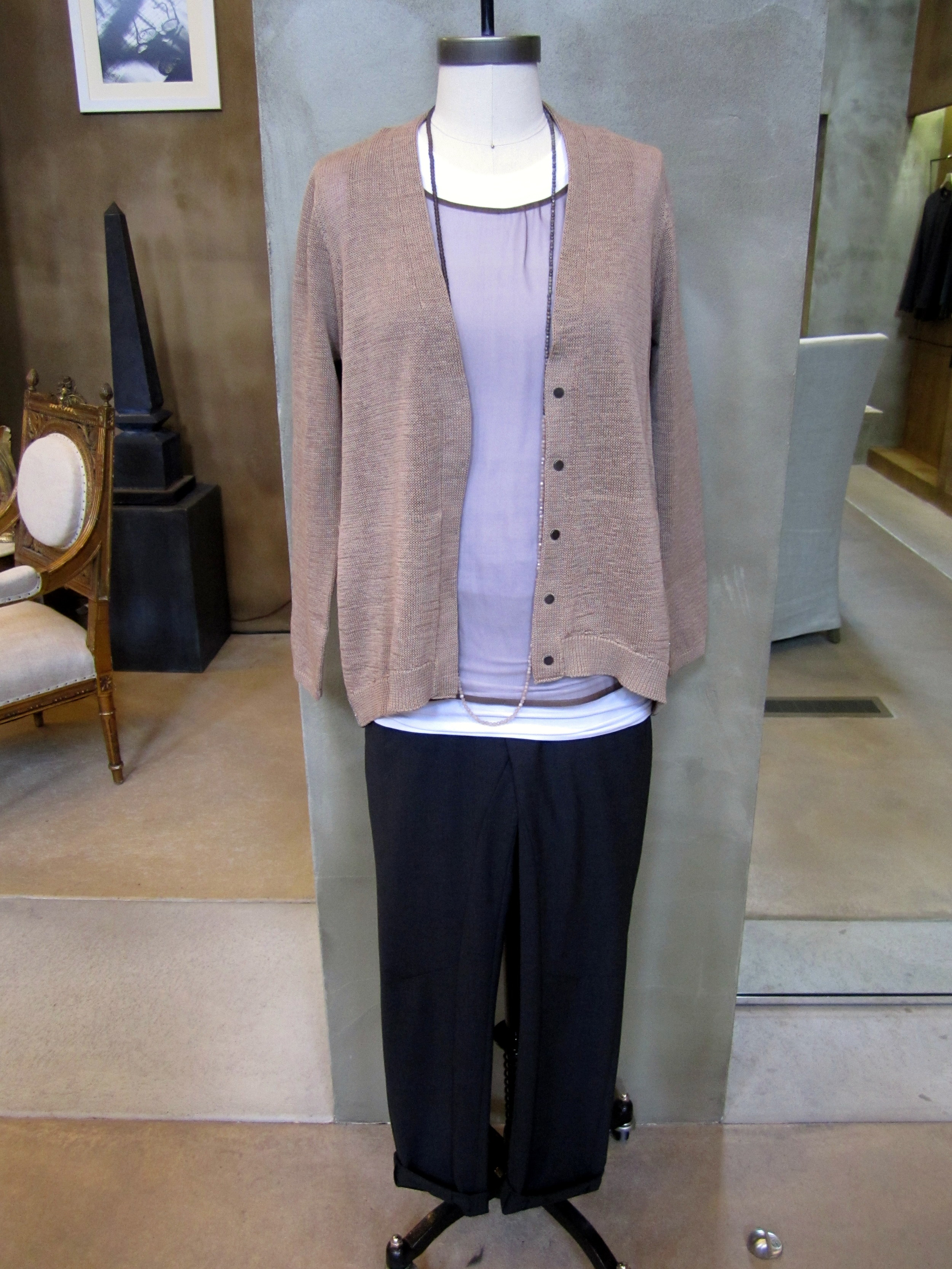 Brunello Cucinelli Silk Organza Shear Tank with Cotton T-Shirt Underneath. Chocolate / White. $835. Available in Small, Medium, Large. Dry Cotton Long Sleeve Monili Snap Front Cardigan. Biscotti. $1335. Medium, Large and X-Large. Light Weight Wool Seamed Pant. Anthracite. Available in 4, 6, and 8. Long Necklace. $725. Made in Italy.