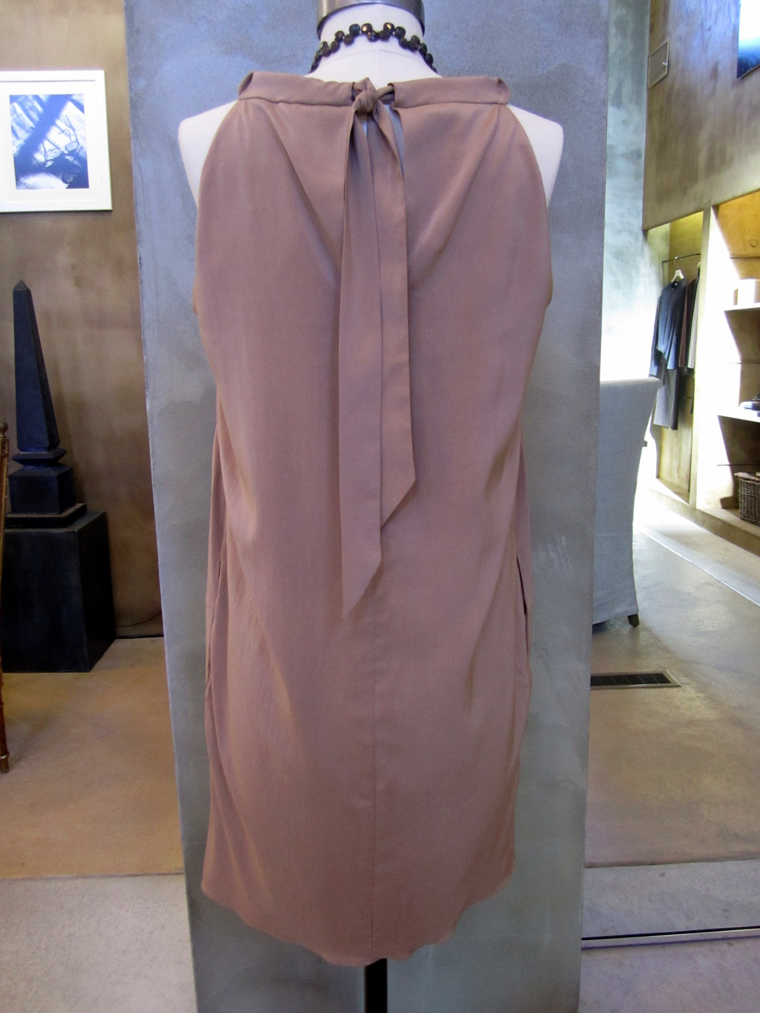 Brunello Cucinelli Silk Stretch Tank Dress with Ruched Neck Back.