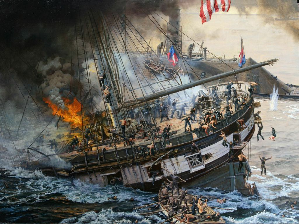 """The Sinking of the Cumberland"" commissioned by Nat Geo and currently on display in the Maritime Museum in Virginia."