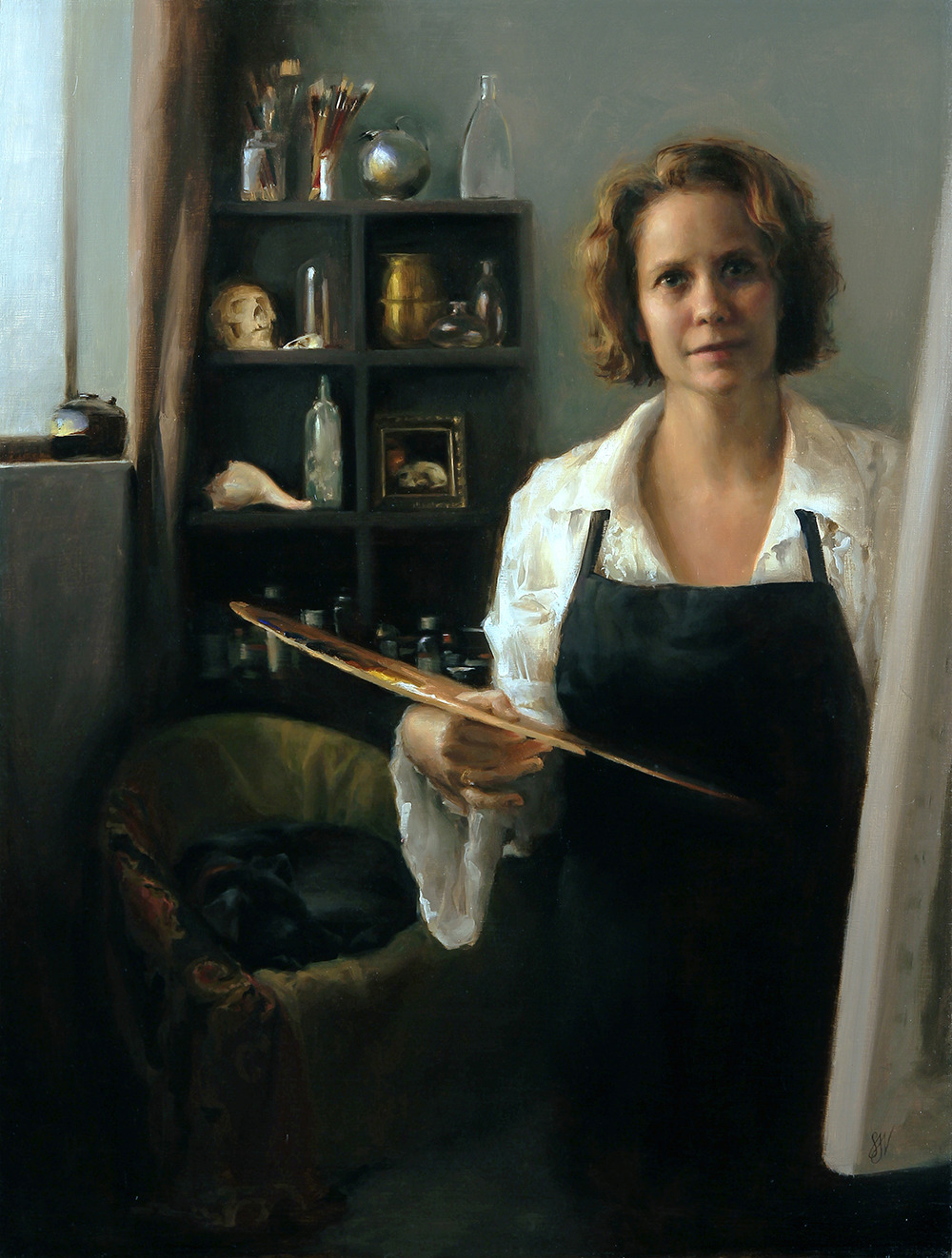 """Self portrait at 41 in the studio with dog"" 31 x 41 inches, oil on linen"