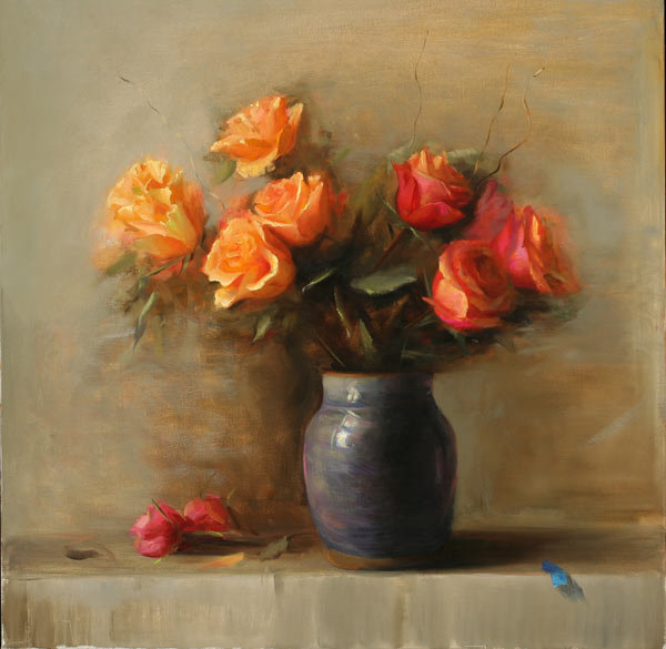 "Juliette Aristides, ""Roses"", oil on Linen, 28 x 28 in"