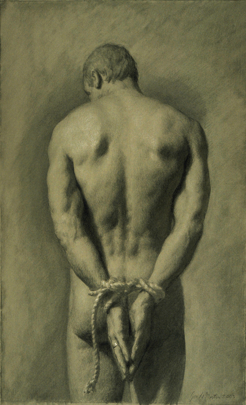 Bound, 2004, black and white chalk, 18x12 inches