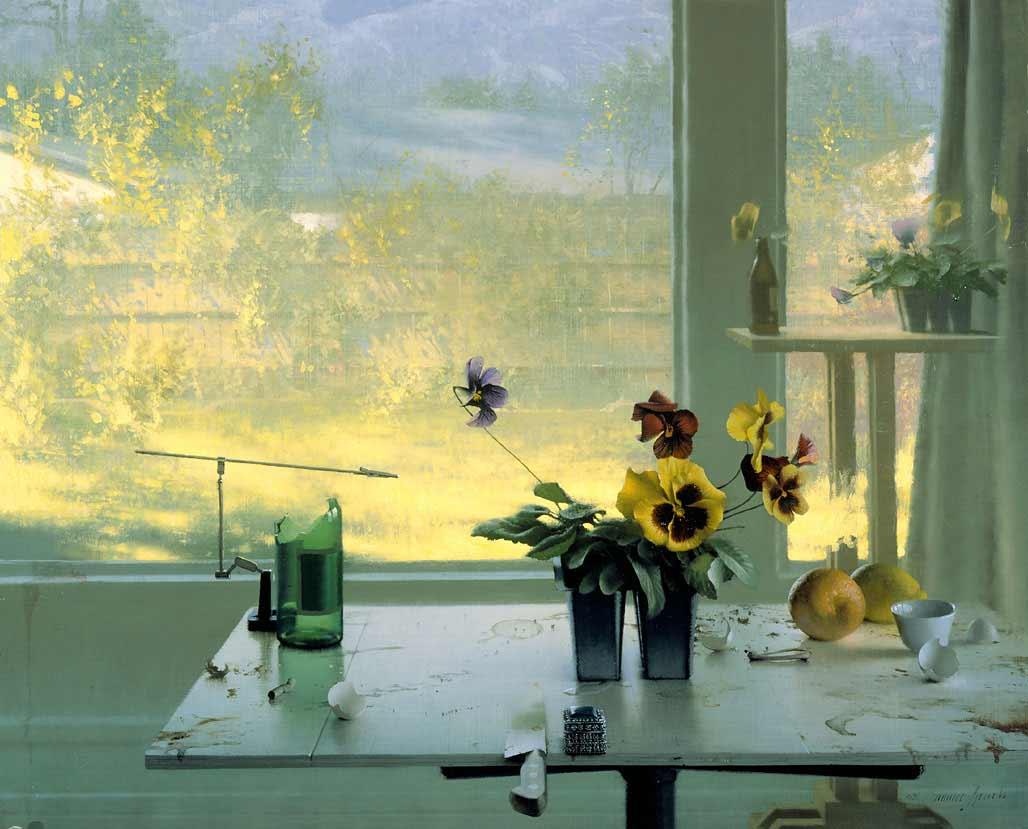 """Landscape & Pansies"" Oil & Board 24″ x 30″"