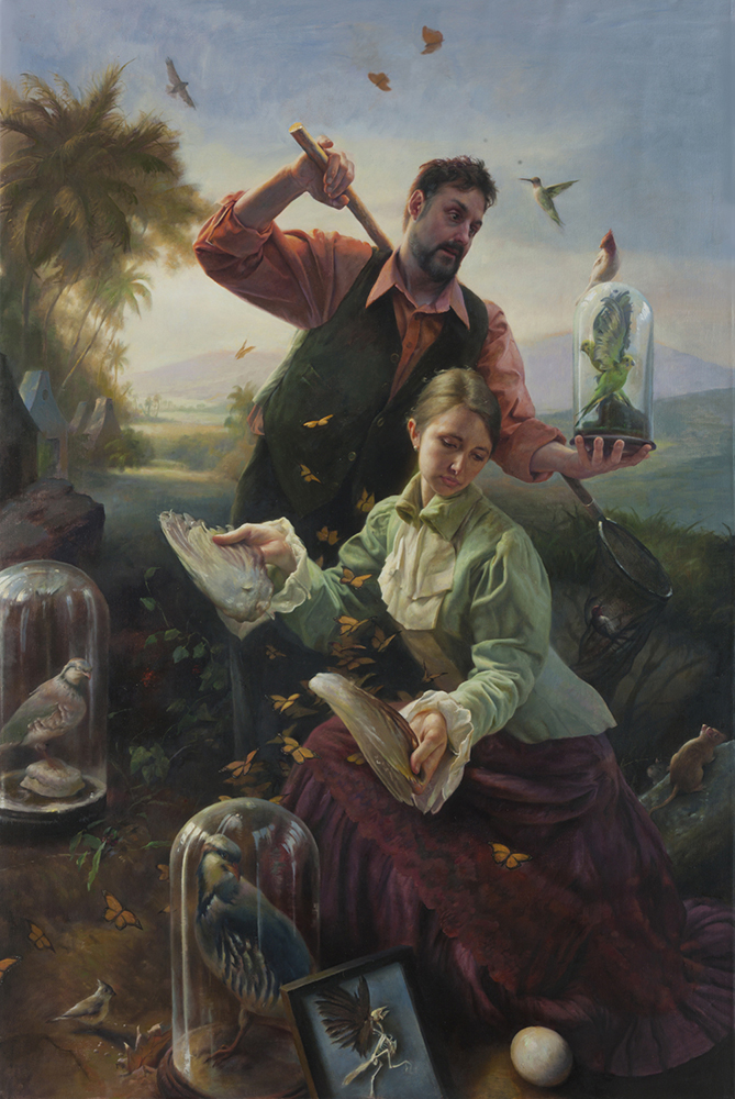 """The Finch Collectors"" Oil on canvas, 71"" x 47"", 2016"