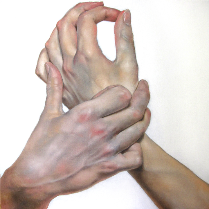 "Hands #1 , oil on canvas, 24""x24"", 2011"