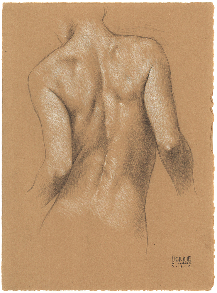 "Dorrie's Back , pencil on paper, 15""x11"", 2018"