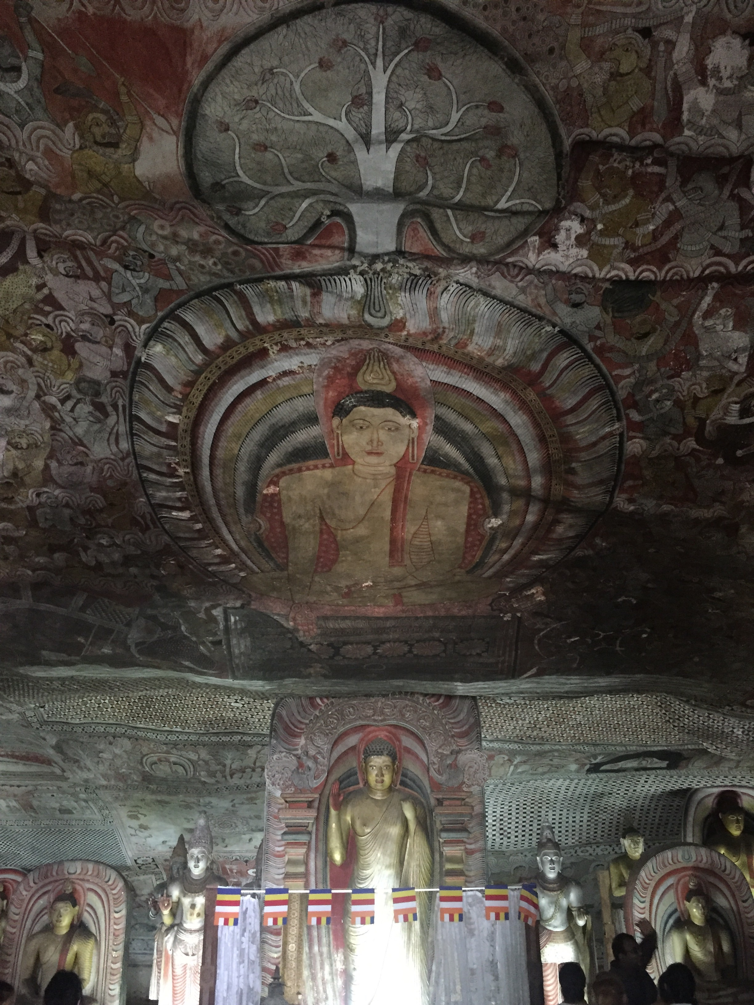 Some Buddhas and ceiling murals at the cave temples.