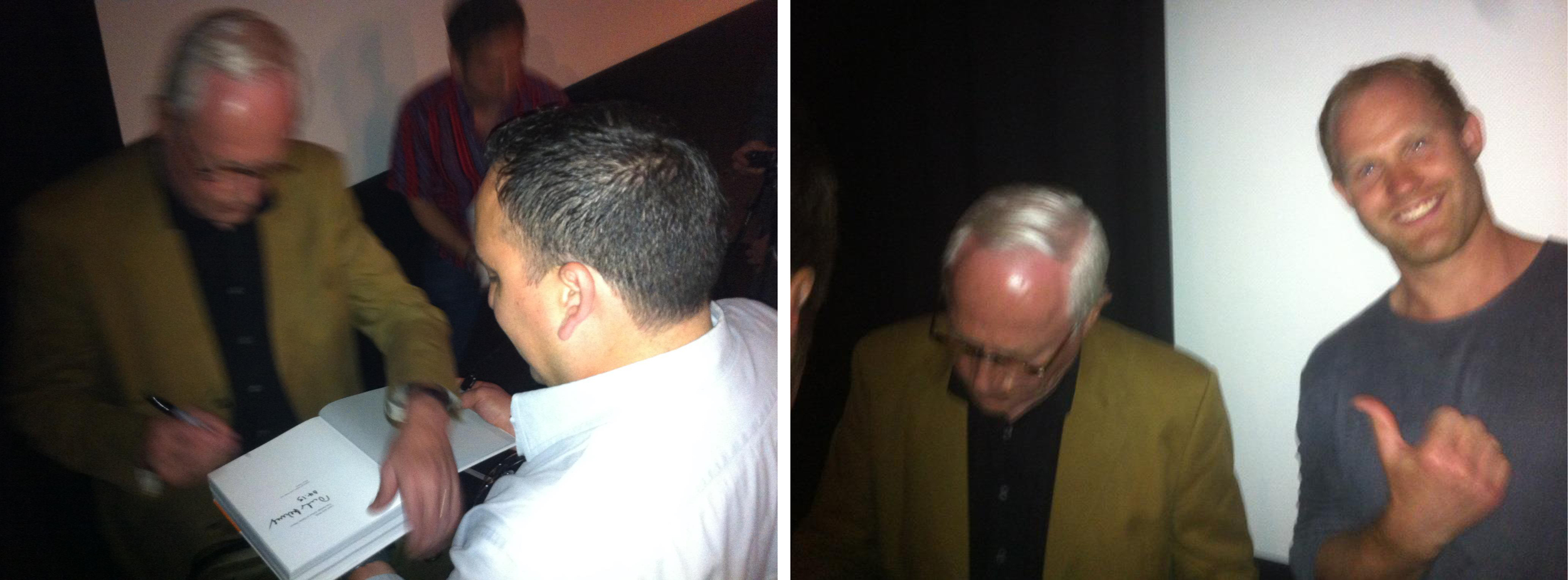 Dieter Rams signing my copy of Less and More (left).  My friend Thorben Neu is just hangin' with Dieter.  I love this pic (right).