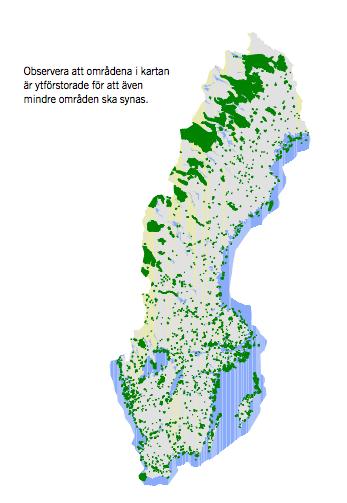4300 naturreservat ojämnt fördelade över Sverige.