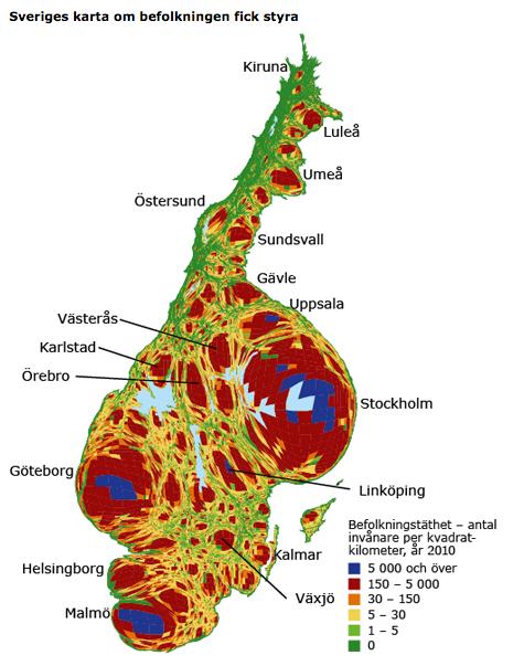 9,9 miljoner invånare ojämnt fördelade över Sverige.