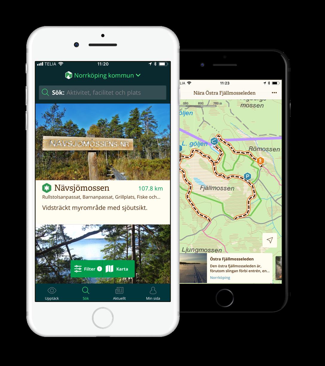 Låt dig inspireras av Norrköpings Naturkarta på  webben , för  iPhone  och för  Android .