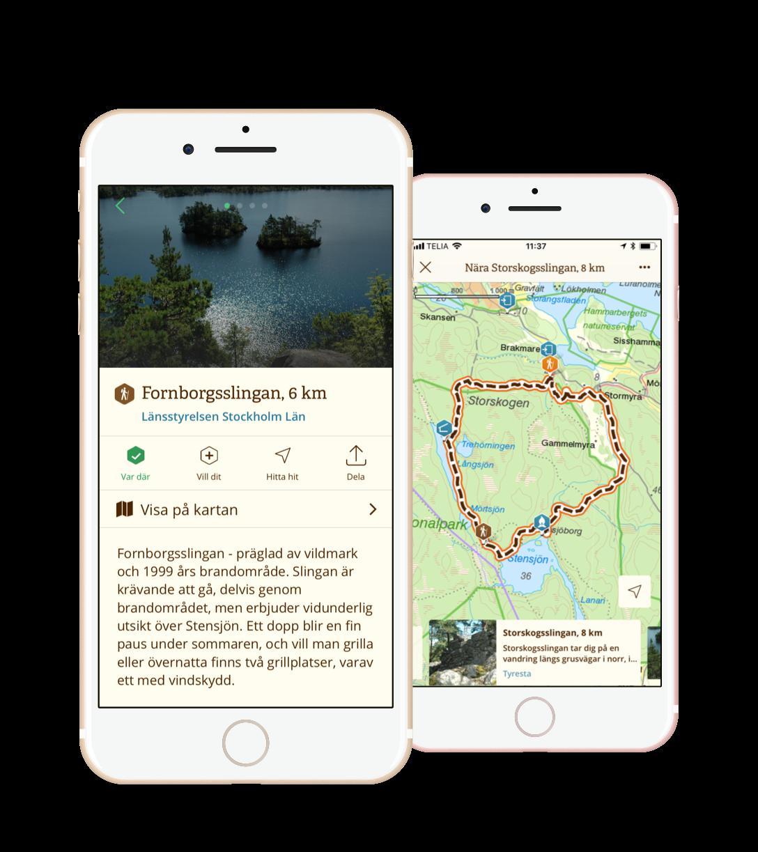 Låt dig inspireras av Tyrestas Naturkarta på  webben  och i  mobilen .