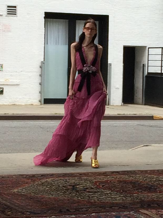 Gown on the street at Gucci resort 2016