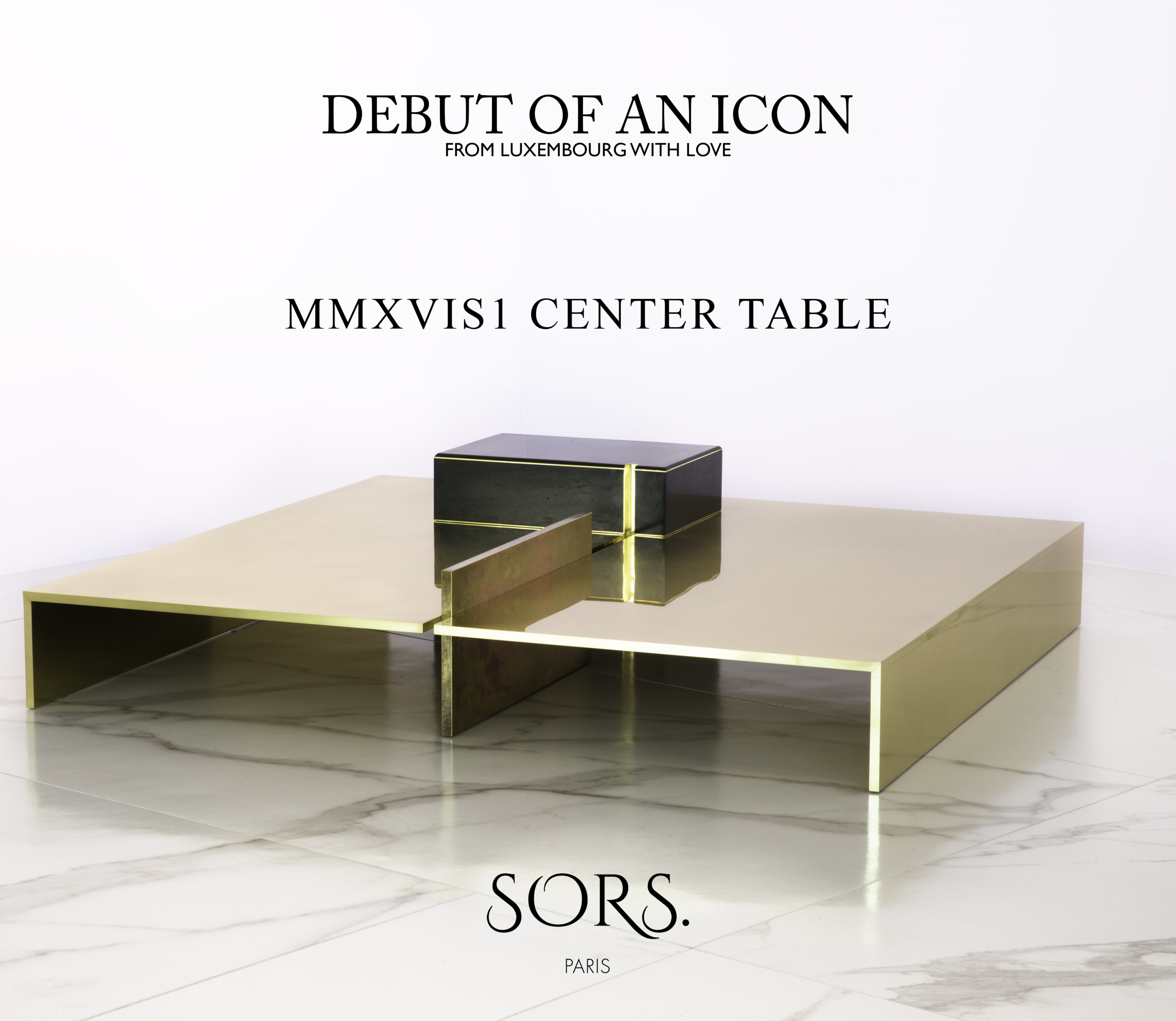 [[MMXVIS1 polished brass  and wood coffee table - All rights reserved///MMXVIS1 table basse en  laiton poli et bois - Tous droits réservés]]