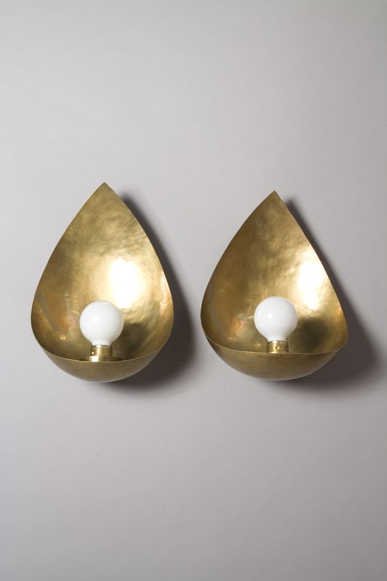Hayno Focken, Hammered bronze cup sconces, 1930s.