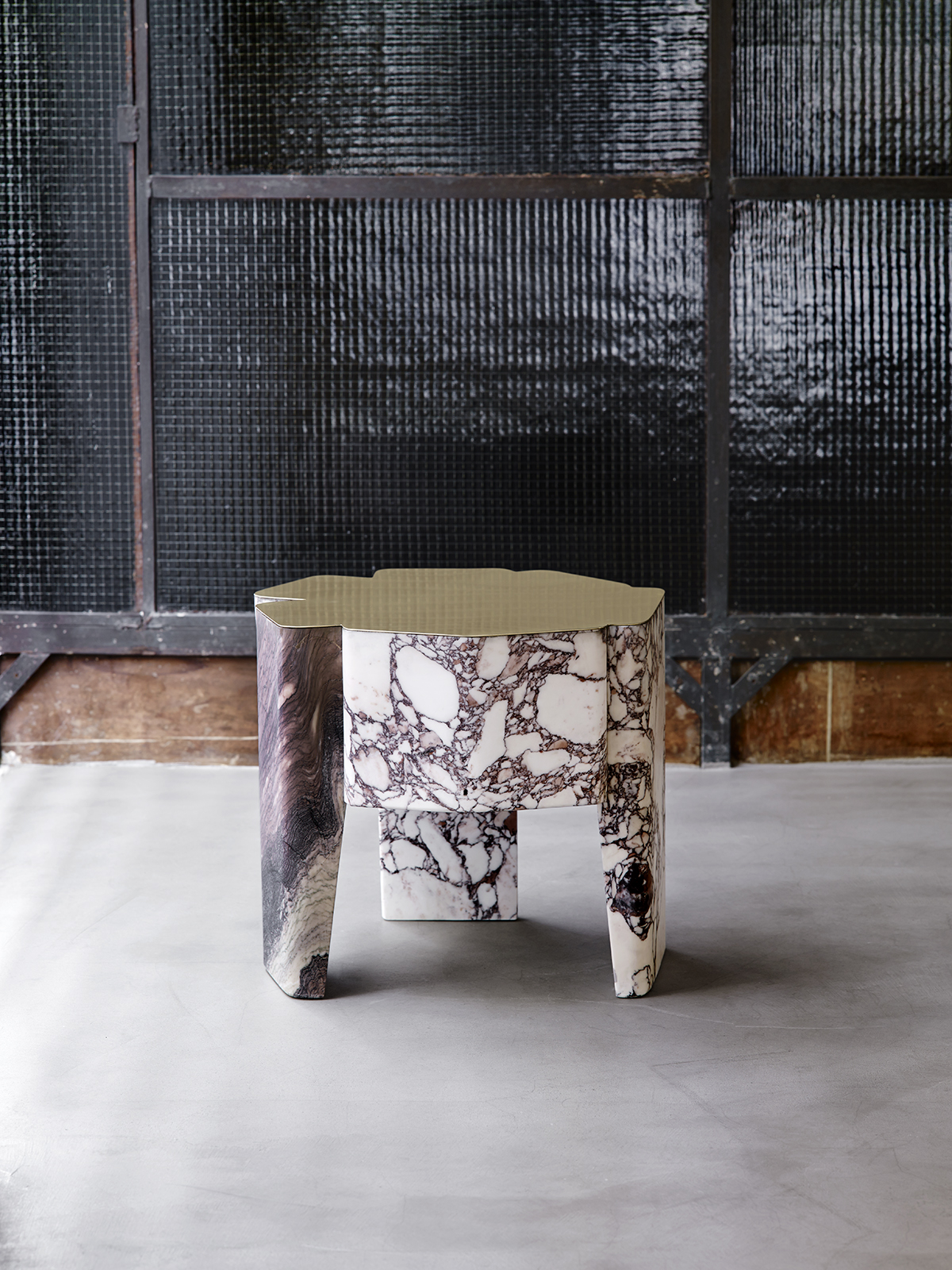 DC1615 marble and silver plated brass side table Vicenzo de Cotiis 2016