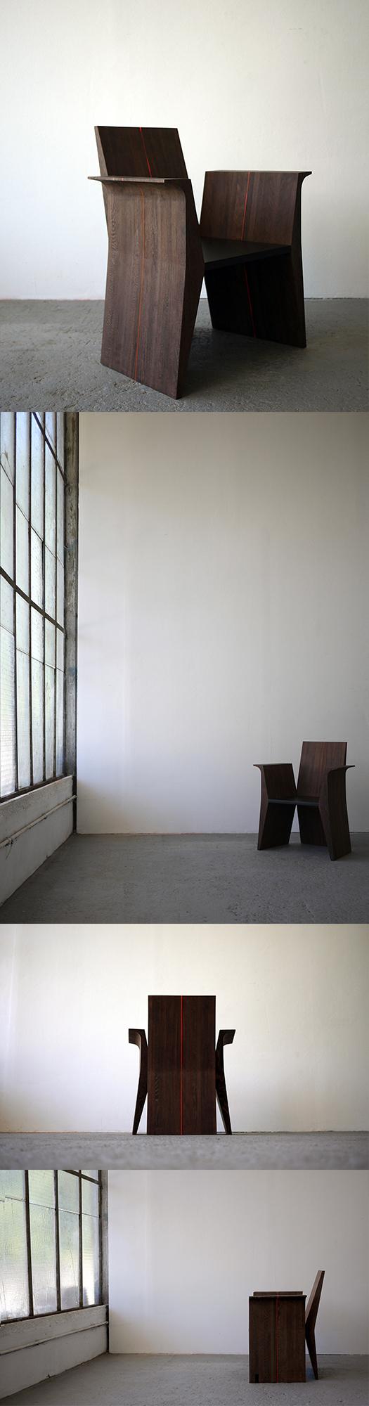 La chaise Wengé modèle no°1, 2017 - Offerte en édition limitée de 5. Photos:Altesachair